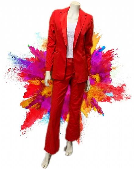 Conjunto blazer e calça social vermelho