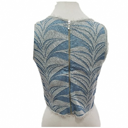 Blusa tricô azul lurex