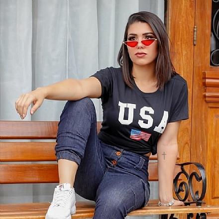 T-shirt USA Preta