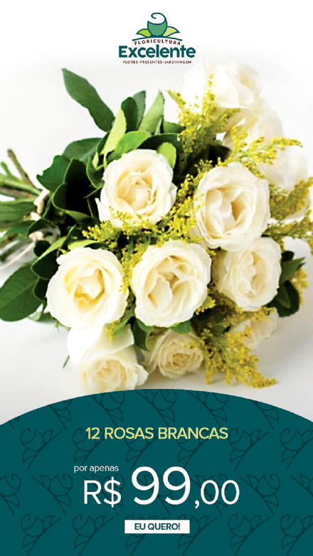 Buque de 12 rosas brancas