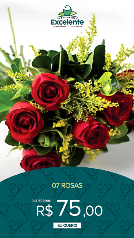 Buque de 7 rosas vermelhas