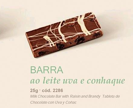 Barra de Chocolate ao Leite Lugano com Uvas Passas e Conhaque