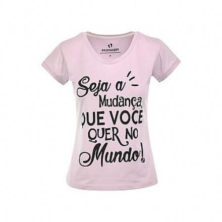 Camiseta Feminina Seja a Mudança Gola Canoa - PP