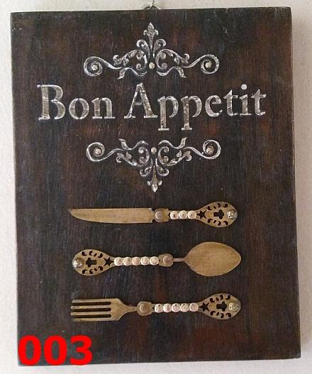 Placas de madeira, tema cozinha/bon apetit